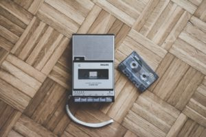 tape recorder on hardwood floor